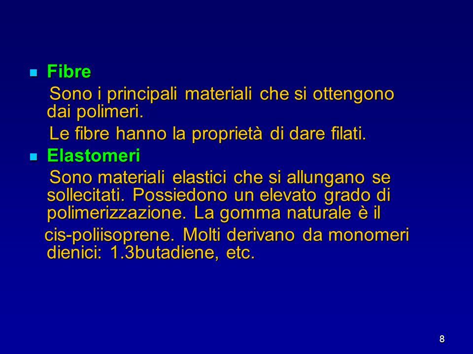 8 Fibre Fibre Sono i principali materiali che si ottengono dai polimeri. Sono i principali materiali che si ottengono dai polimeri. Le fibre hanno la