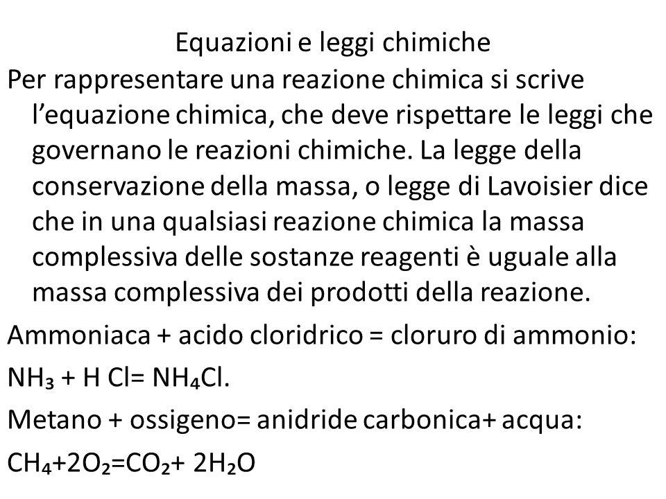 Equazioni e leggi chimiche Per rappresentare una reazione chimica si scrive lequazione chimica, che deve rispettare le leggi che governano le reazioni