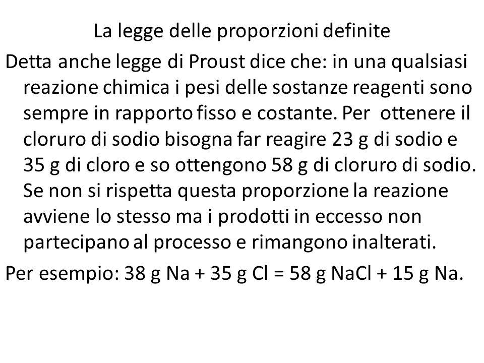La legge delle proporzioni definite Detta anche legge di Proust dice che: in una qualsiasi reazione chimica i pesi delle sostanze reagenti sono sempre