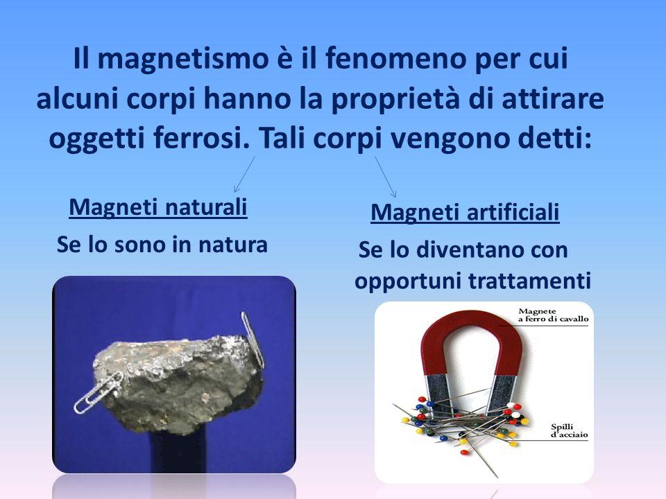 Il magnetismo è il fenomeno per cui alcuni corpi hanno la proprietà di attirare oggetti ferrosi. Tali corpi vengono detti: Magneti naturali Se lo sono