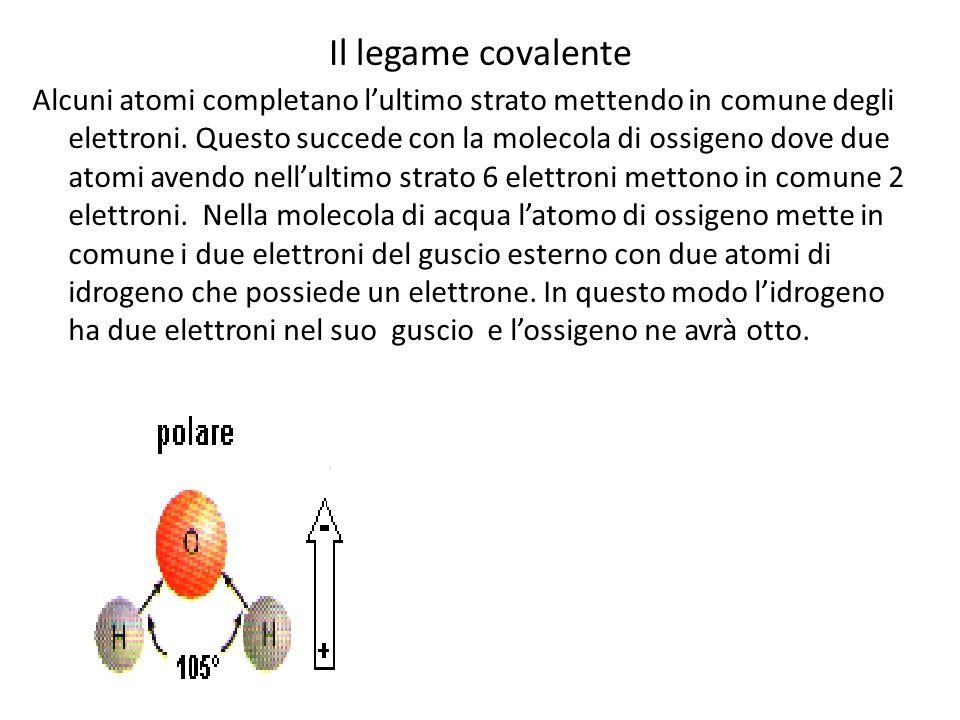 Il legame covalente Alcuni atomi completano lultimo strato mettendo in comune degli elettroni. Questo succede con la molecola di ossigeno dove due ato