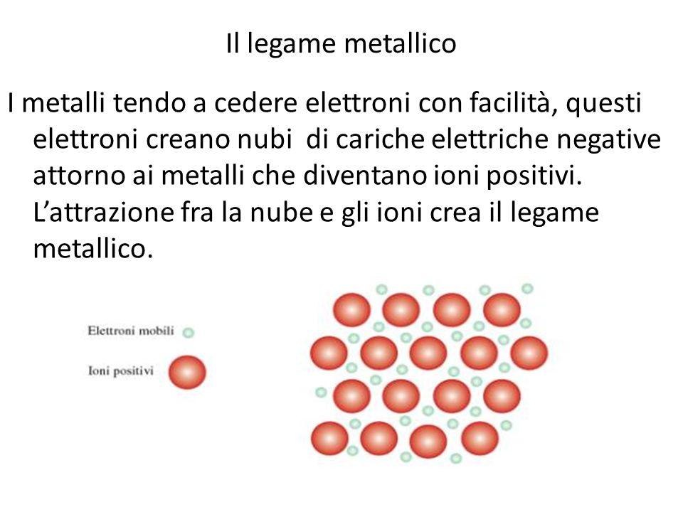 Il legame metallico I metalli tendo a cedere elettroni con facilità, questi elettroni creano nubi di cariche elettriche negative attorno ai metalli ch