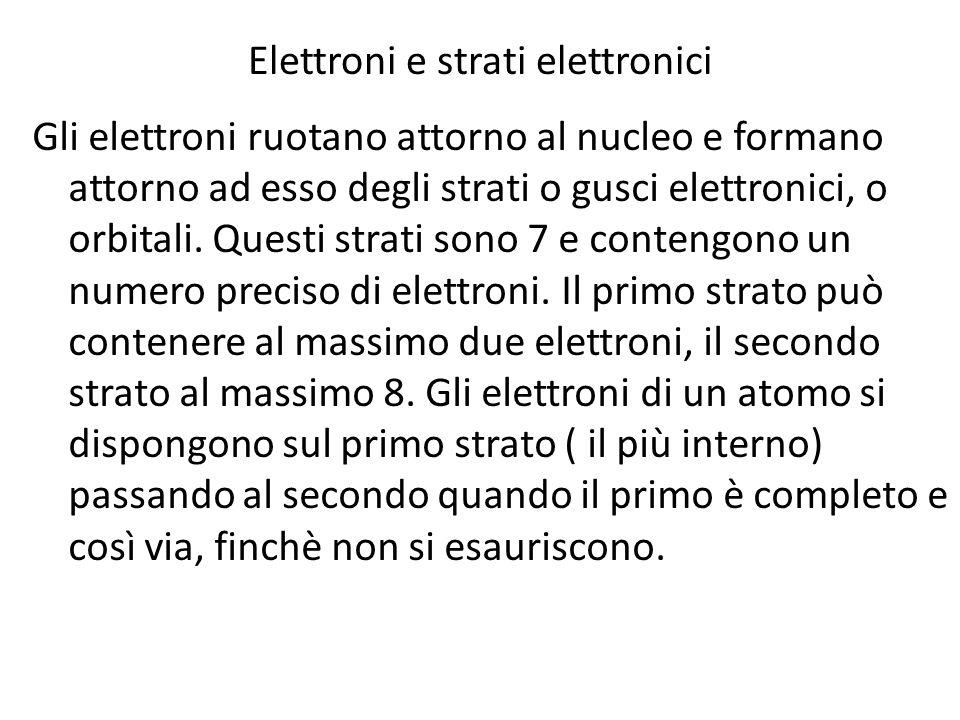 Elettroni e strati elettronici Gli elettroni ruotano attorno al nucleo e formano attorno ad esso degli strati o gusci elettronici, o orbitali. Questi