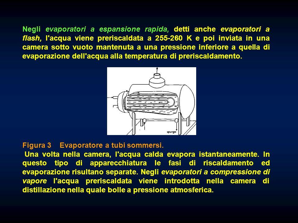 Negli evaporatori a espansione rapida, detti anche evaporatori a flash, l acqua viene preriscaldata a 255-260 K e poi inviata in una camera sotto vuoto mantenuta a una pressione inferiore a quella di evaporazione dell acqua alla temperatura di preriscaldamento.
