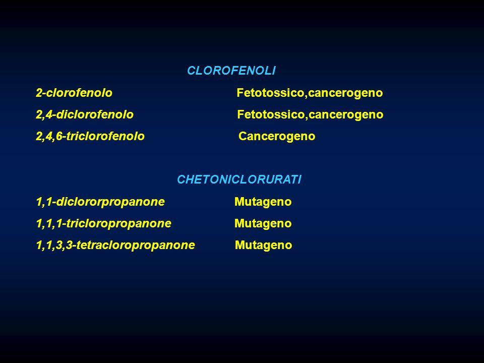 CLOROFENOLI 2-clorofenolo Fetotossico,cancerogeno 2,4-diclorofenolo Fetotossico,cancerogeno 2,4,6-triclorofenolo Cancerogeno CHETONICLORURATI 1,1-diclororpropanone Mutageno 1,1,1-tricloropropanone Mutageno 1,1,3,3-tetracloropropanone Mutageno