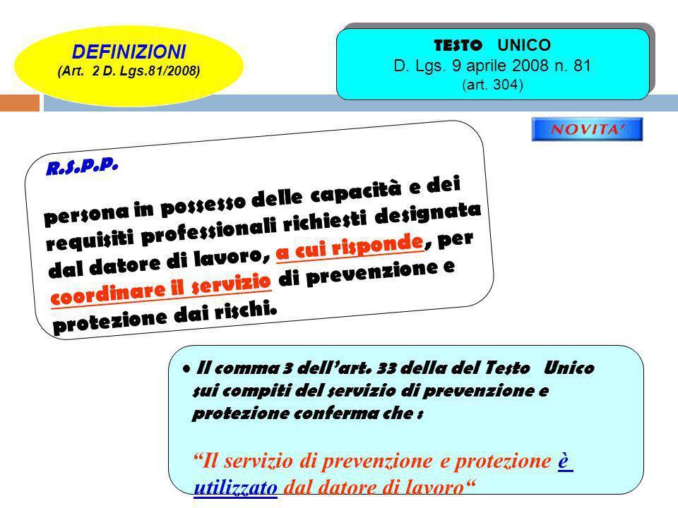 Art.33. (Compiti del servizio di prevenzione e protezione) 1.