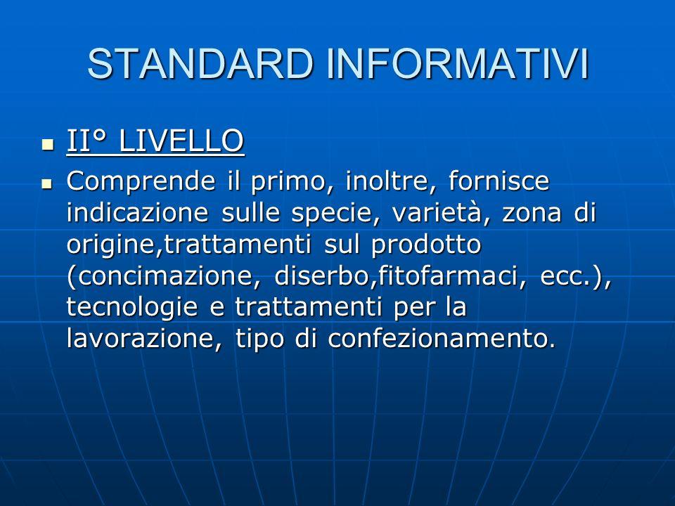 STANDARD INFORMATIVI II° LIVELLO II° LIVELLO Comprende il primo, inoltre, fornisce indicazione sulle specie, varietà, zona di origine,trattamenti sul
