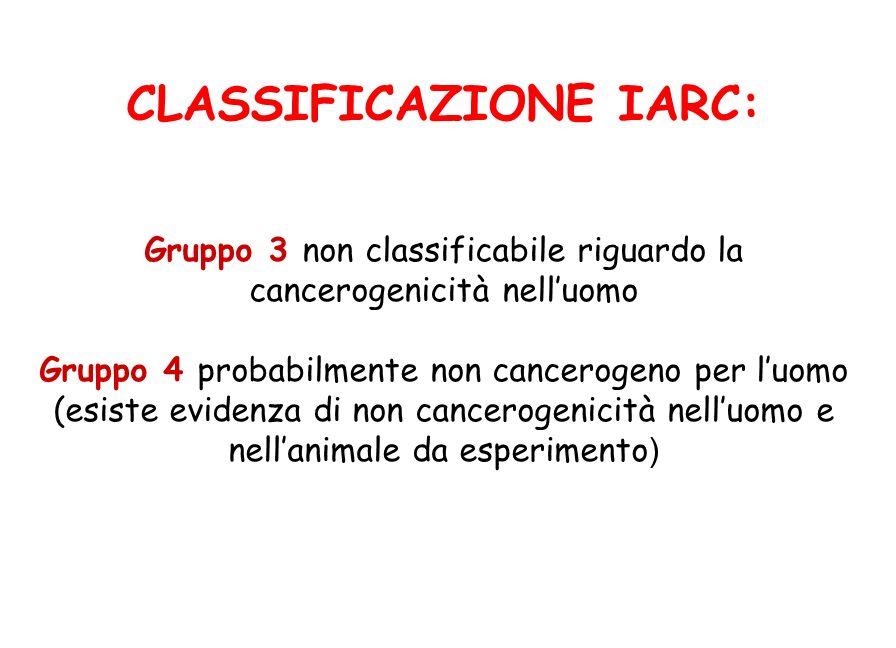 CLASSIFICAZIONE IARC: Gruppo 3 non classificabile riguardo la cancerogenicità nelluomo Gruppo 4 probabilmente non cancerogeno per luomo (esiste eviden