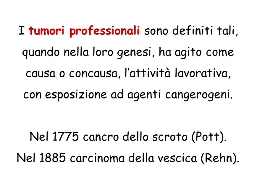 I tumori professionali sono definiti tali, quando nella loro genesi, ha agito come causa o concausa, lattività lavorativa, con esposizione ad agenti c