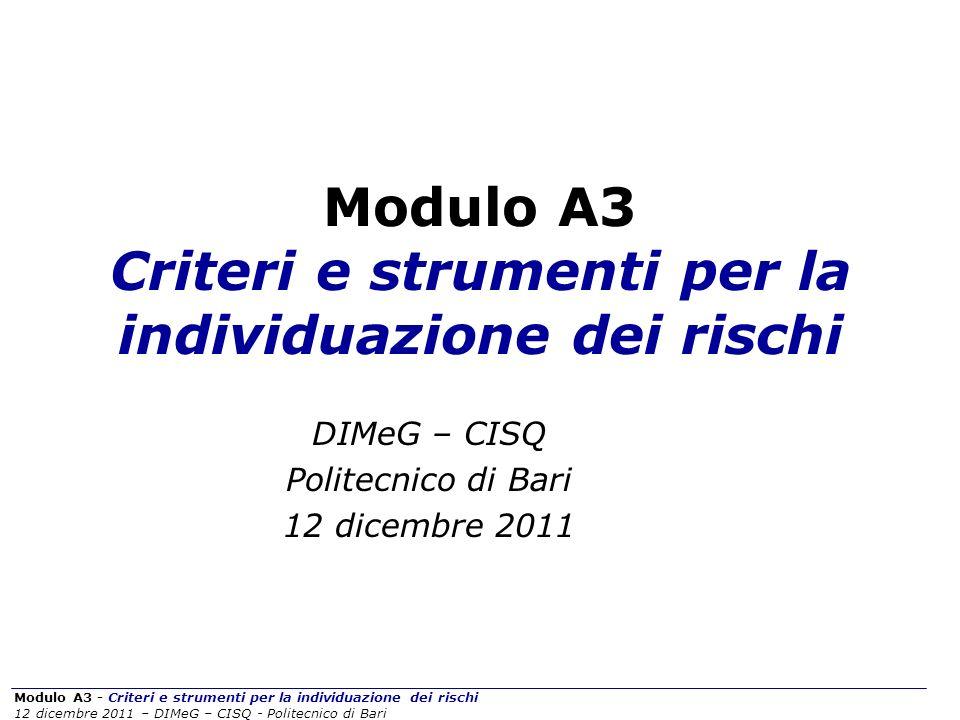 Modulo A3 - Criteri e strumenti per la individuazione dei rischi 12 dicembre 2011 – DIMeG – CISQ - Politecnico di Bari L APPROCCIO ALLA VALUTAZIONE DEI RISCHI Indice di rischio.