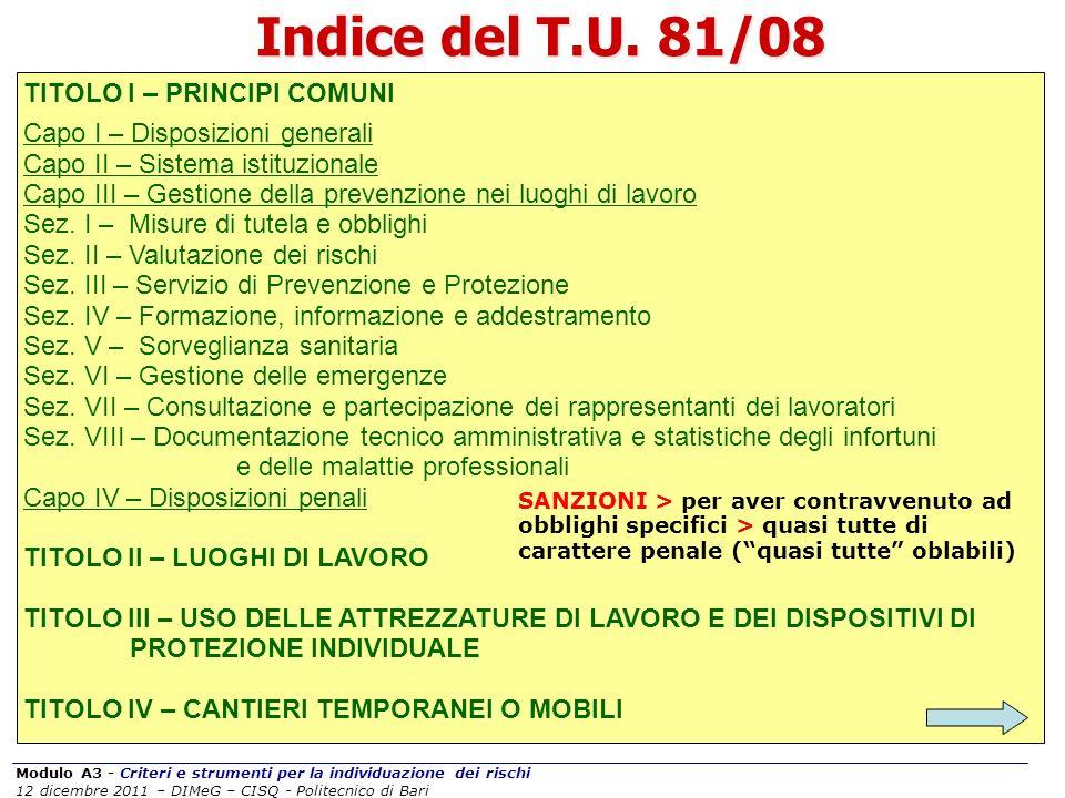 Modulo A3 - Criteri e strumenti per la individuazione dei rischi 12 dicembre 2011 – DIMeG – CISQ - Politecnico di Bari Indice del T.U. 81/08 TITOLO I