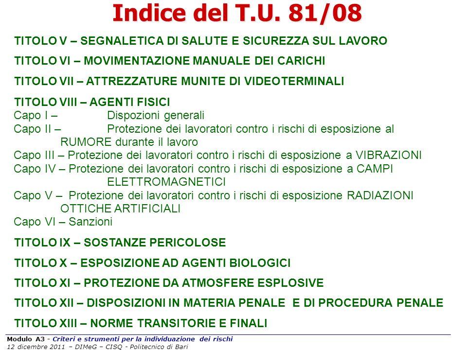 Modulo A3 - Criteri e strumenti per la individuazione dei rischi 12 dicembre 2011 – DIMeG – CISQ - Politecnico di Bari Indice del T.U. 81/08 TITOLO V