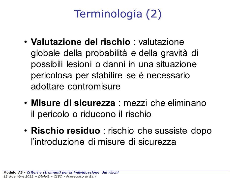 Modulo A3 - Criteri e strumenti per la individuazione dei rischi 12 dicembre 2011 – DIMeG – CISQ - Politecnico di Bari Valutazione del rischio : valut