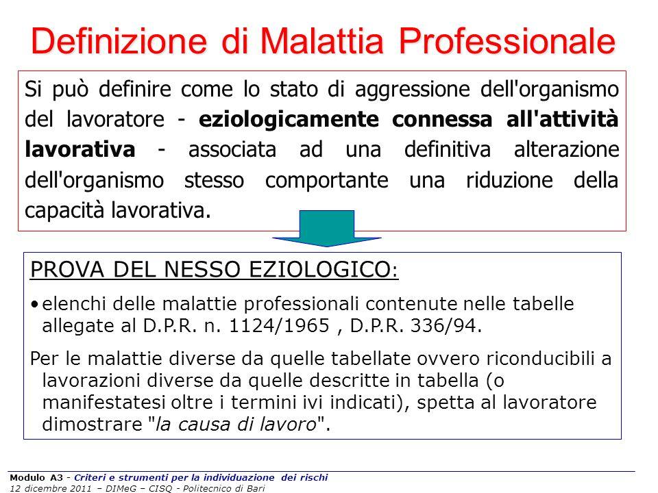 Modulo A3 - Criteri e strumenti per la individuazione dei rischi 12 dicembre 2011 – DIMeG – CISQ - Politecnico di Bari Si può definire come lo stato d