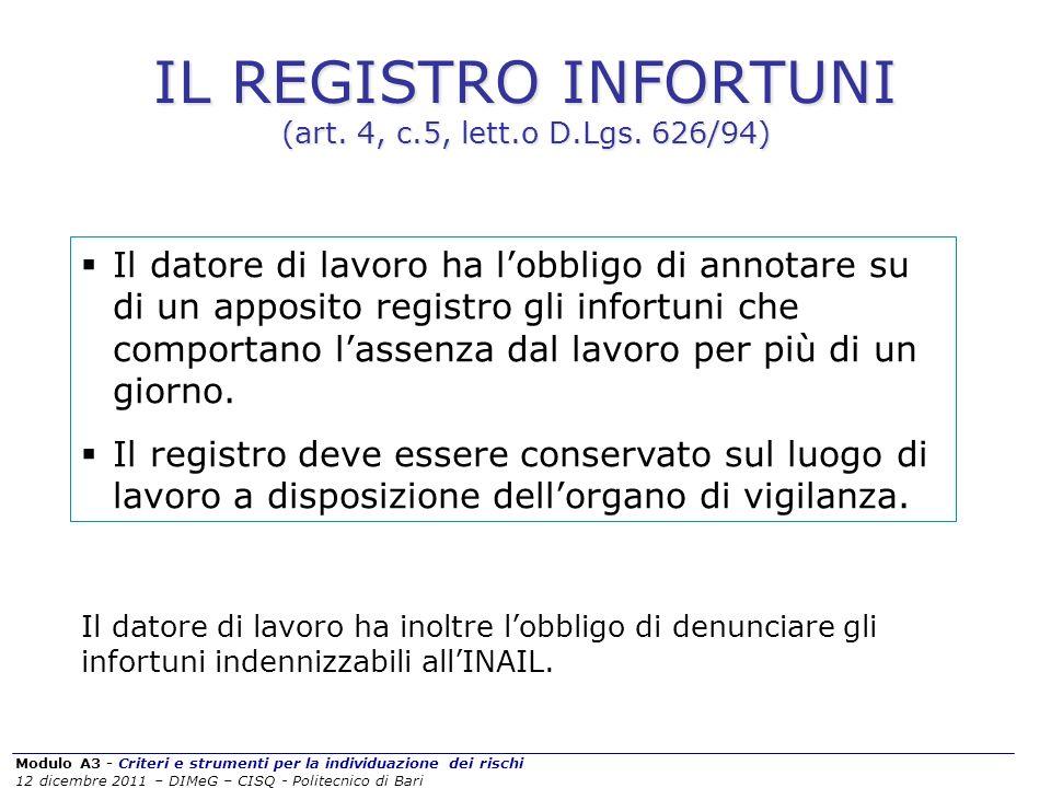 Modulo A3 - Criteri e strumenti per la individuazione dei rischi 12 dicembre 2011 – DIMeG – CISQ - Politecnico di Bari IL REGISTRO INFORTUNI (art. 4,