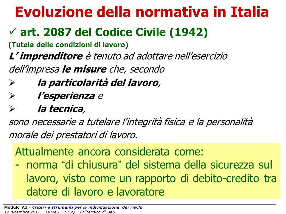 Modulo A3 - Criteri e strumenti per la individuazione dei rischi 12 dicembre 2011 – DIMeG – CISQ - Politecnico di BariSICUREZZA OGGETTIVASOGGETTIVA Strumenti per la sicurezza Evoluzione della normativa in Italia Risorse tecnologicheRisorse umane