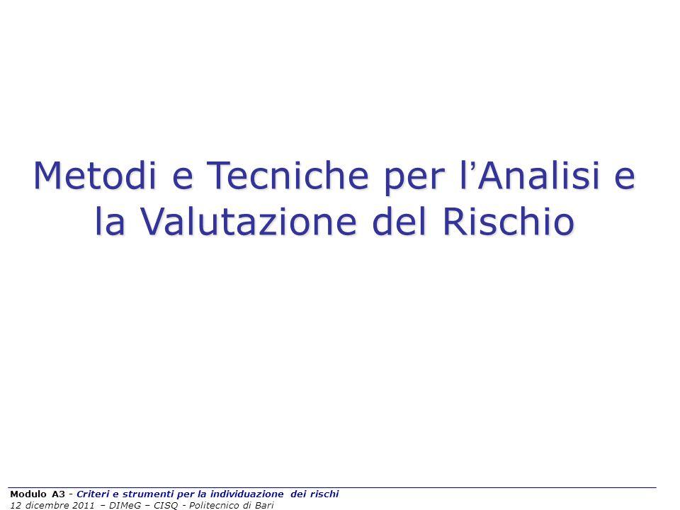 Modulo A3 - Criteri e strumenti per la individuazione dei rischi 12 dicembre 2011 – DIMeG – CISQ - Politecnico di Bari Metodi e Tecniche per l Analisi