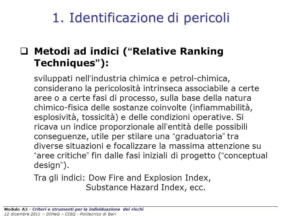 Modulo A3 - Criteri e strumenti per la individuazione dei rischi 12 dicembre 2011 – DIMeG – CISQ - Politecnico di Bari Metodi ad indici ( Relative Ran