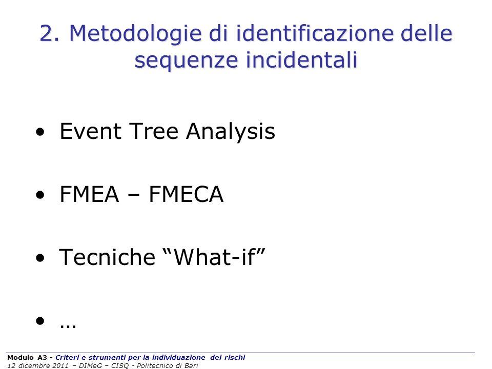 Modulo A3 - Criteri e strumenti per la individuazione dei rischi 12 dicembre 2011 – DIMeG – CISQ - Politecnico di Bari 2. Metodologie di identificazio