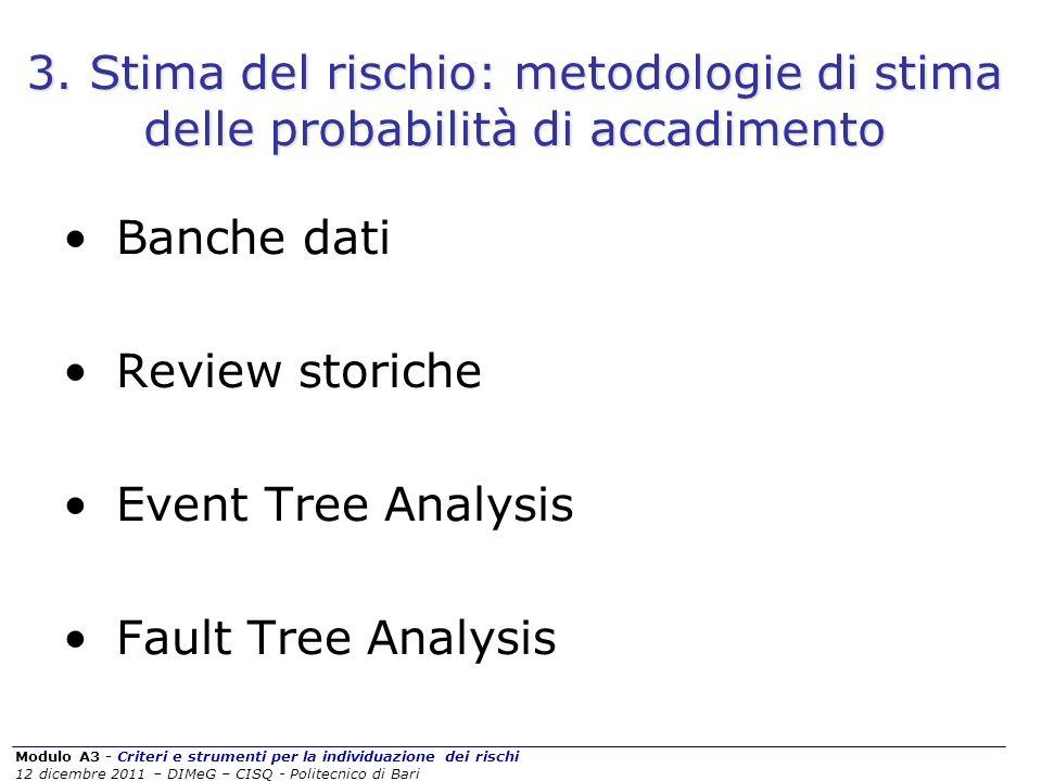 Modulo A3 - Criteri e strumenti per la individuazione dei rischi 12 dicembre 2011 – DIMeG – CISQ - Politecnico di Bari 3. Stima del rischio: metodolog