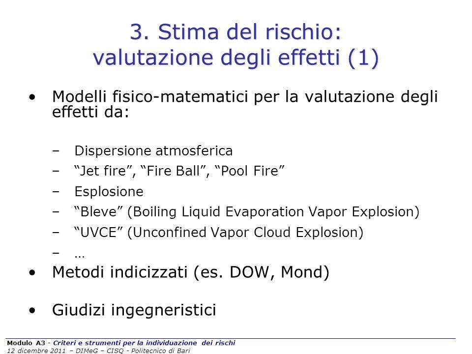 Modulo A3 - Criteri e strumenti per la individuazione dei rischi 12 dicembre 2011 – DIMeG – CISQ - Politecnico di Bari 3. Stima del rischio: valutazio