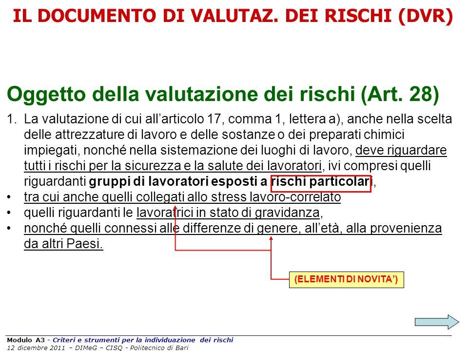 Modulo A3 - Criteri e strumenti per la individuazione dei rischi 12 dicembre 2011 – DIMeG – CISQ - Politecnico di Bari IL DOCUMENTO DI VALUTAZ. DEI RI