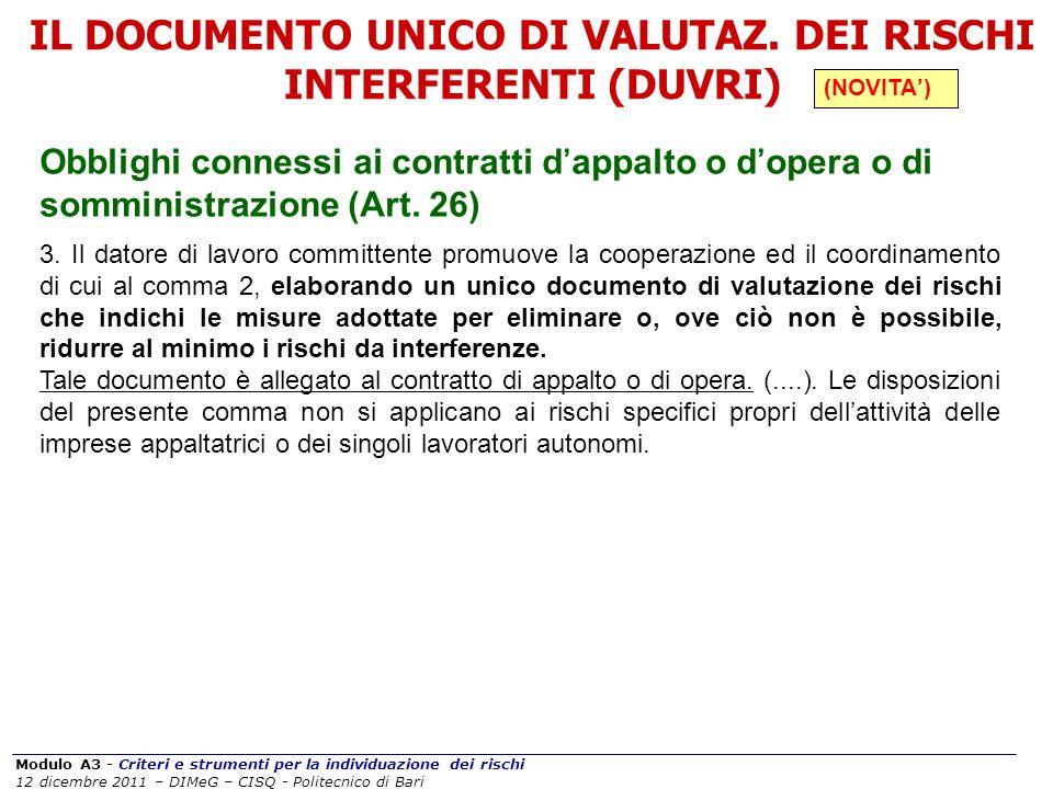 Modulo A3 - Criteri e strumenti per la individuazione dei rischi 12 dicembre 2011 – DIMeG – CISQ - Politecnico di Bari Obblighi connessi ai contratti