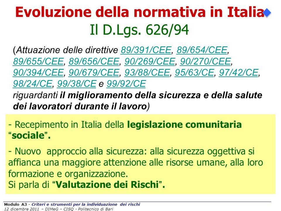 Modulo A3 - Criteri e strumenti per la individuazione dei rischi 12 dicembre 2011 – DIMeG – CISQ - Politecnico di Bari I principi ispiratori del 626/94...
