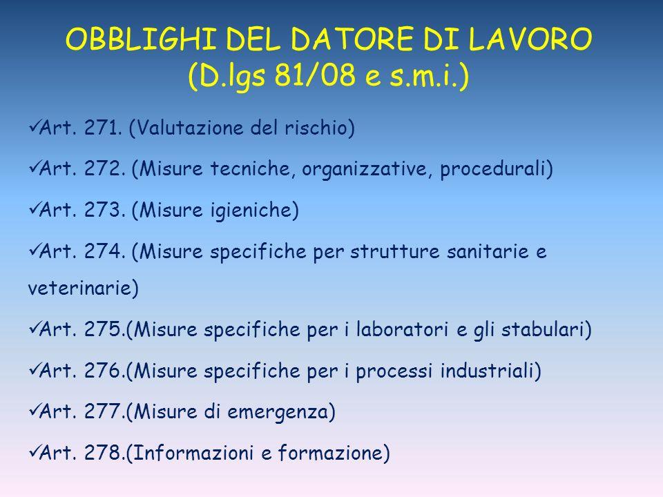 OBBLIGHI DEL DATORE DI LAVORO (D.lgs 81/08 e s.m.i.) Art.