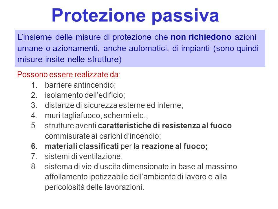 Protezione passiva Linsieme delle misure di protezione che non richiedono azioni umane o azionamenti, anche automatici, di impianti (sono quindi misur