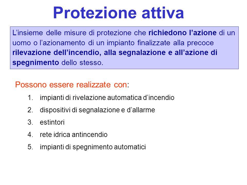 Protezione attiva Linsieme delle misure di protezione che richiedono lazione di un uomo o lazionamento di un impianto finalizzate alla precoce rilevaz