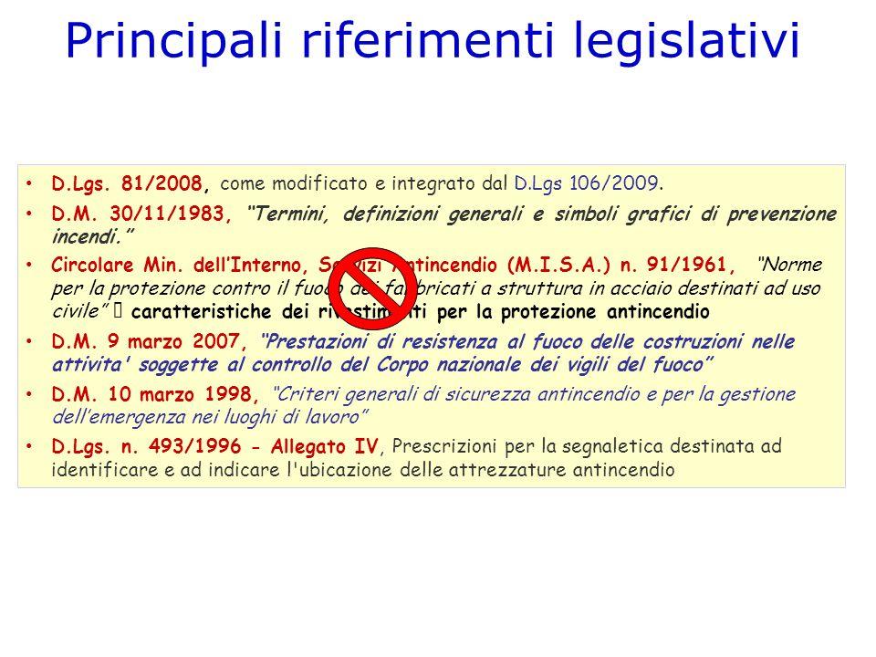 D.Lgs. 81/2008, come modificato e integrato dal D.Lgs 106/2009. D.M. 30/11/1983, Termini, definizioni generali e simboli grafici di prevenzione incend
