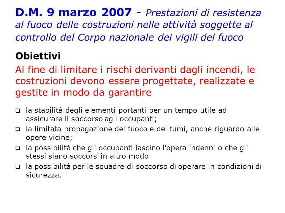 D.M. 9 marzo 2007 - Prestazioni di resistenza al fuoco delle costruzioni nelle attività soggette al controllo del Corpo nazionale dei vigili del fuoco
