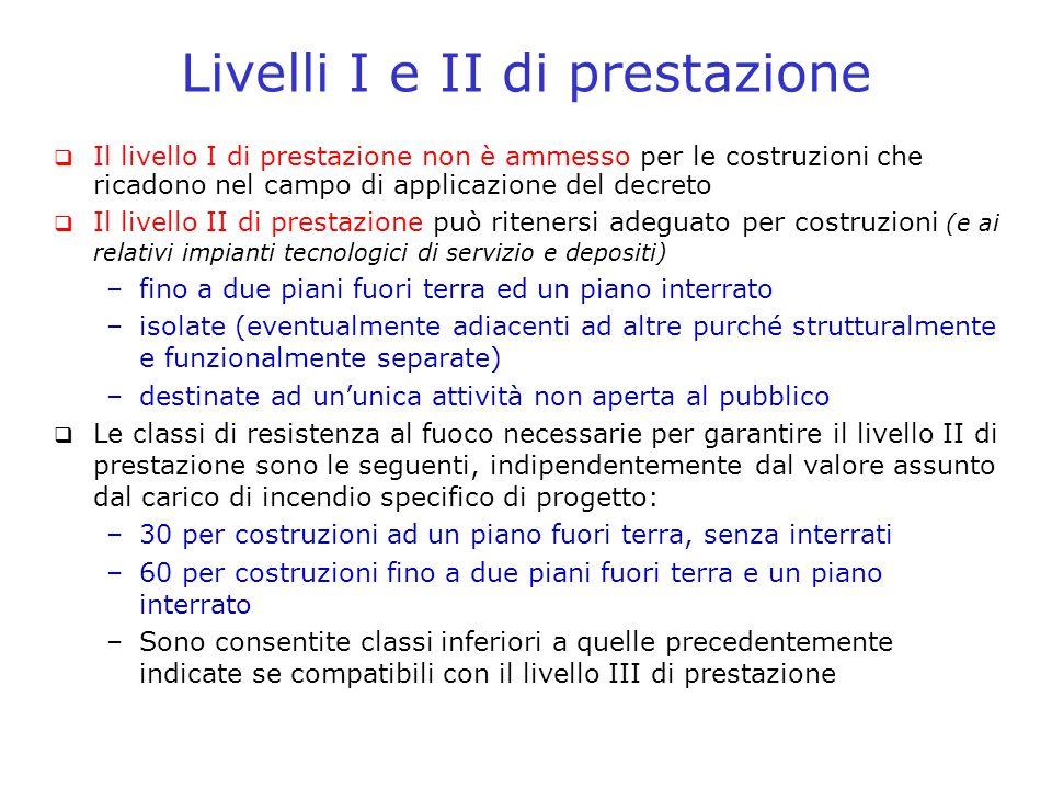 Livelli I e II di prestazione Il livello I di prestazione non è ammesso per le costruzioni che ricadono nel campo di applicazione del decreto Il livel