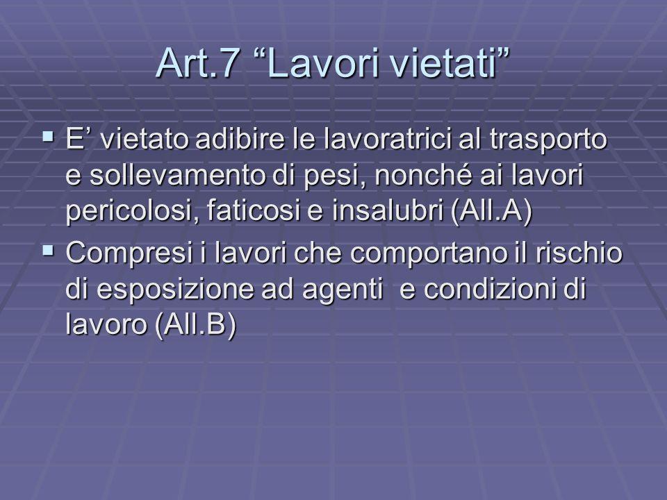 Art.7 Lavori vietati E vietato adibire le lavoratrici al trasporto e sollevamento di pesi, nonché ai lavori pericolosi, faticosi e insalubri (All.A) E