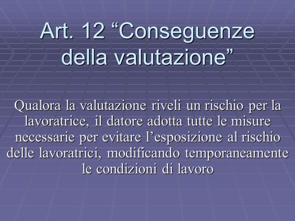 Art. 12 Conseguenze della valutazione Qualora la valutazione riveli un rischio per la lavoratrice, il datore adotta tutte le misure necessarie per evi