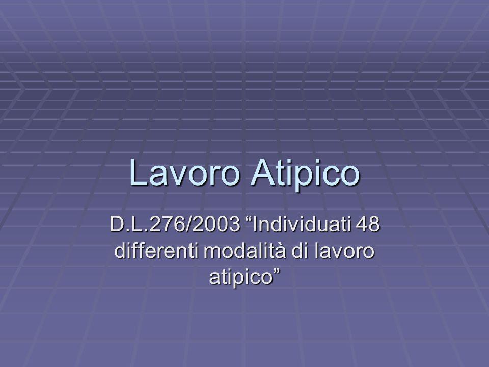 Lavoro Atipico D.L.276/2003 Individuati 48 differenti modalità di lavoro atipico