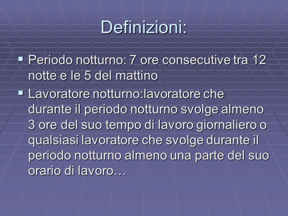 Definizioni: Periodo notturno: 7 ore consecutive tra 12 notte e le 5 del mattino Periodo notturno: 7 ore consecutive tra 12 notte e le 5 del mattino L
