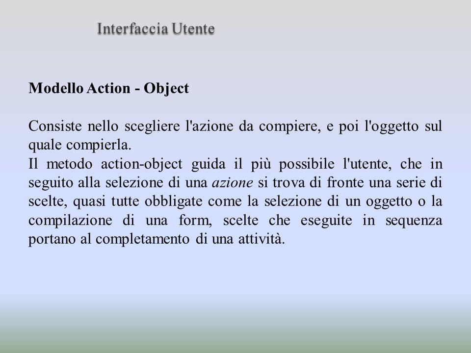 Modello Action - Object Consiste nello scegliere l'azione da compiere, e poi l'oggetto sul quale compierla. Il metodo action-object guida il più possi