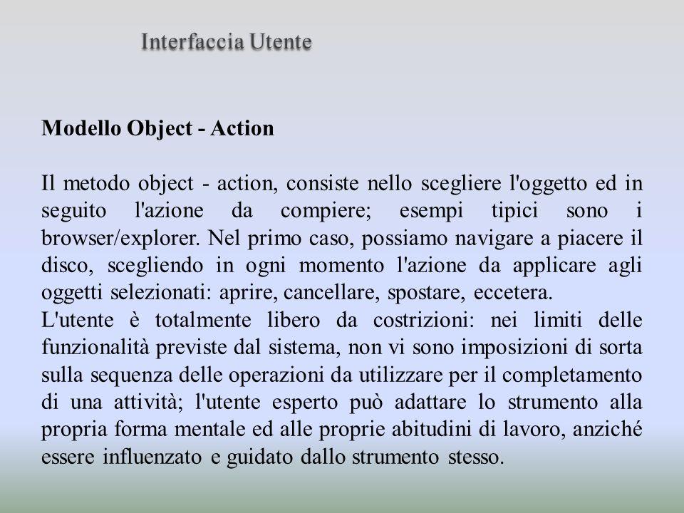 Modello Object - Action Il metodo object - action, consiste nello scegliere l'oggetto ed in seguito l'azione da compiere; esempi tipici sono i browser