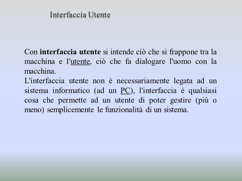 InterfacciaUtente Interfaccia Utente Con interfaccia utente si intende ciò che si frappone tra la macchina e l'utente, ciò che fa dialogare l'uomo con