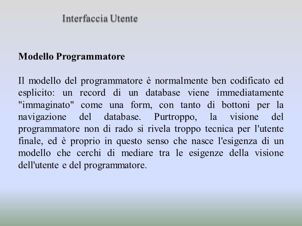 Modello Programmatore Il modello del programmatore è normalmente ben codificato ed esplicito: un record di un database viene immediatamente
