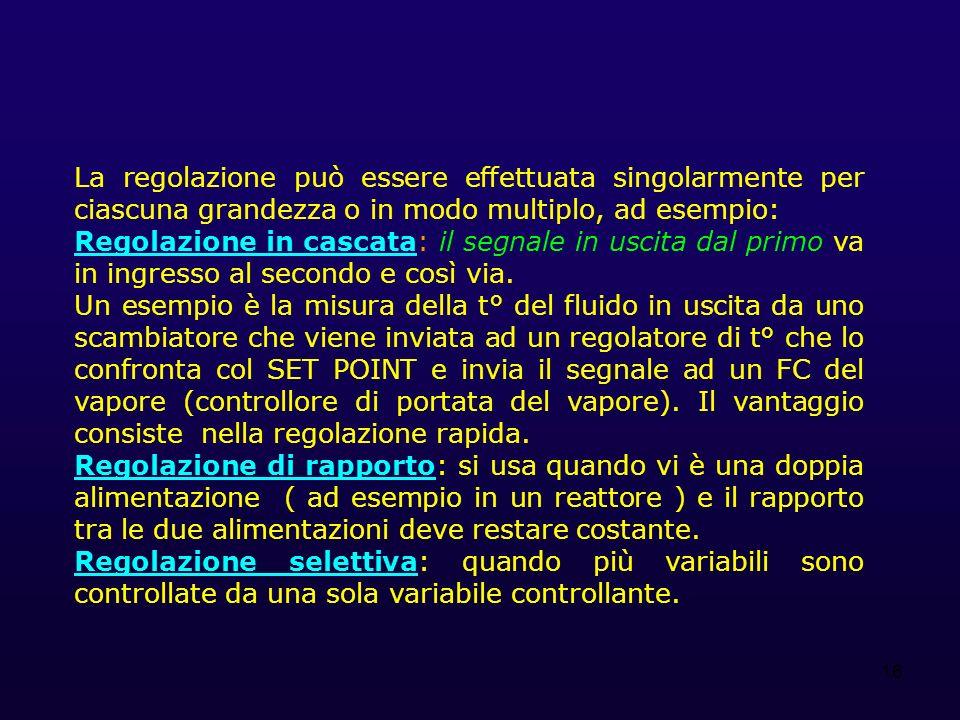 16 La regolazione può essere effettuata singolarmente per ciascuna grandezza o in modo multiplo, ad esempio: Regolazione in cascata: il segnale in uscita dal primo va in ingresso al secondo e così via.