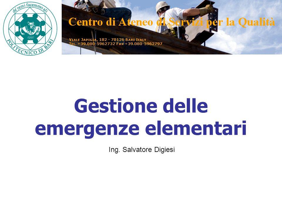 Gestione delle emergenze elementari Ing. Salvatore Digiesi
