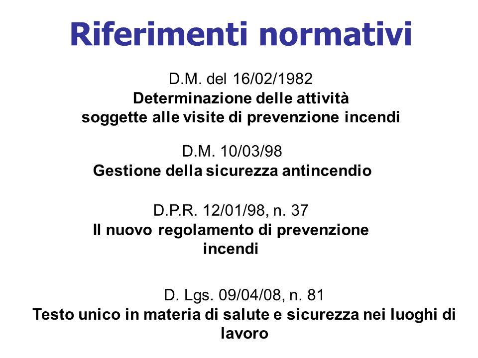 Riferimenti normativi D.M.10/03/98 Gestione della sicurezza antincendio D.P.R.