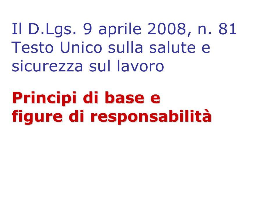Principi di base e figure di responsabilità Il D.Lgs. 9 aprile 2008, n. 81 Testo Unico sulla salute e sicurezza sul lavoro Principi di base e figure d