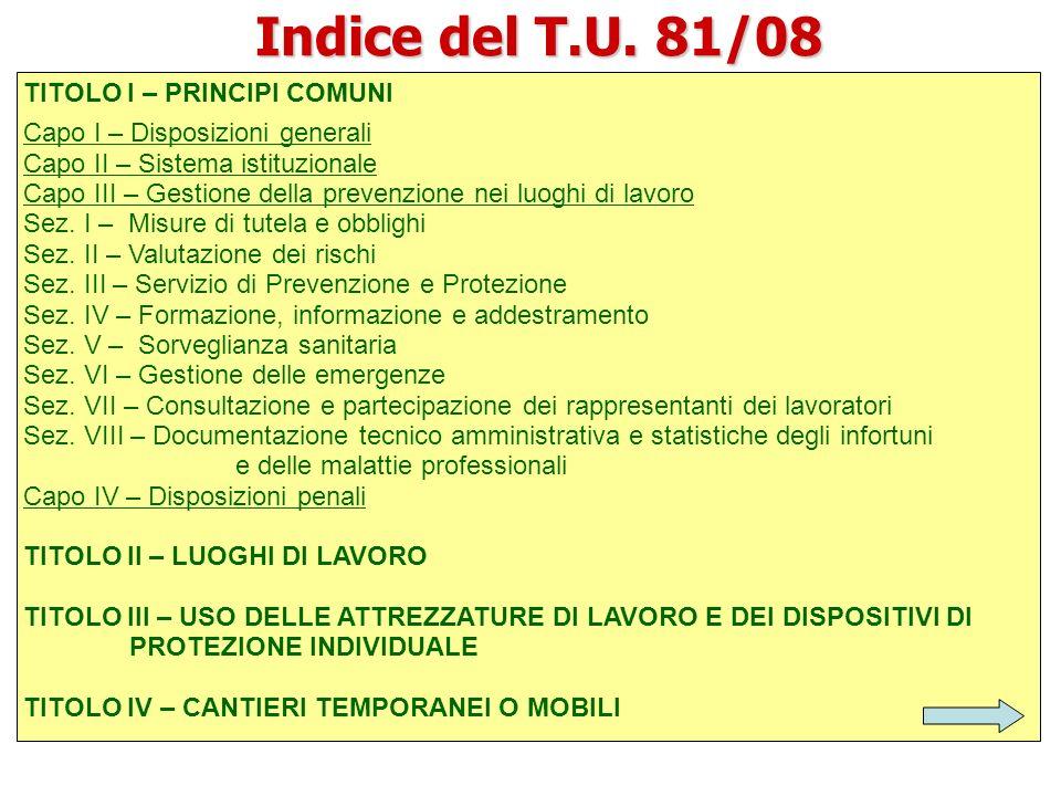 Indice del T.U. 81/08 TITOLO I – PRINCIPI COMUNI Capo I – Disposizioni generali Capo II – Sistema istituzionale Capo III – Gestione della prevenzione