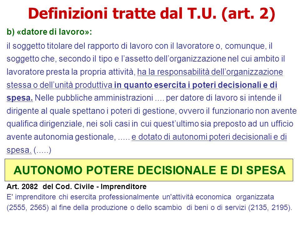 Definizioni tratte dal T.U. (art. 2) b) «datore di lavoro»: il soggetto titolare del rapporto di lavoro con il lavoratore o, comunque, il soggetto che
