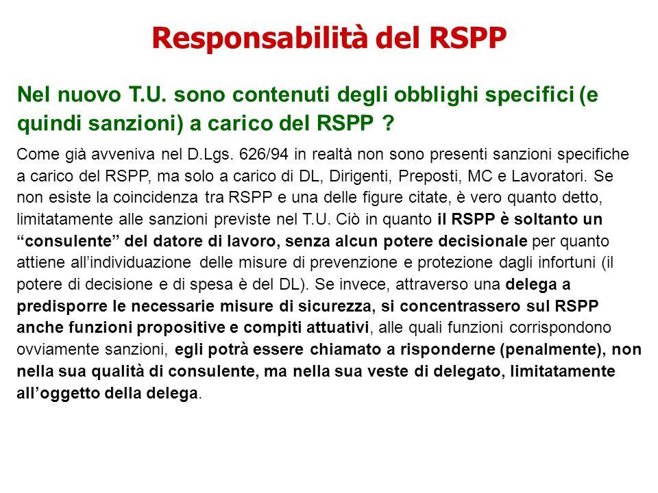 Responsabilità del RSPP Nel nuovo T.U. sono contenuti degli obblighi specifici (e quindi sanzioni) a carico del RSPP ? Come già avveniva nel D.Lgs. 62