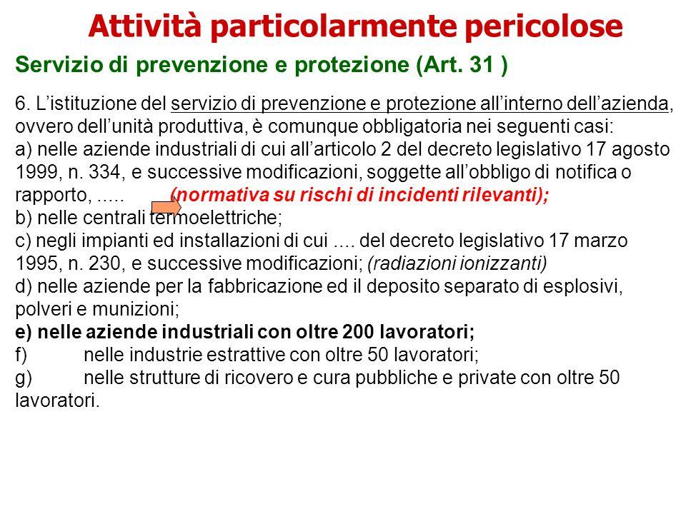 Servizio di prevenzione e protezione (Art. 31 ) 6. Listituzione del servizio di prevenzione e protezione allinterno dellazienda, ovvero dellunità prod